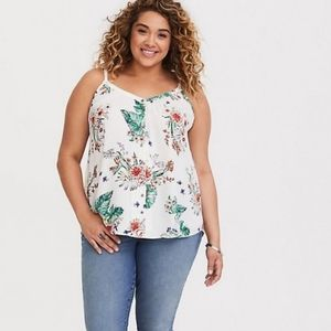 Torrid White Floral Button Front Cami Size Large